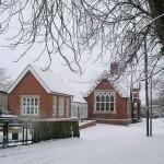 Harlton Village Hall in the snow