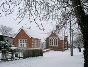 Harlton Village Hall in the snow